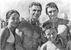 Family portrait drawing in charcoal