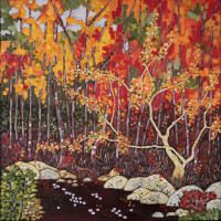 Pond in Fall Colors 36X36