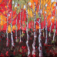 Woodland Grove in Red 18 X 36